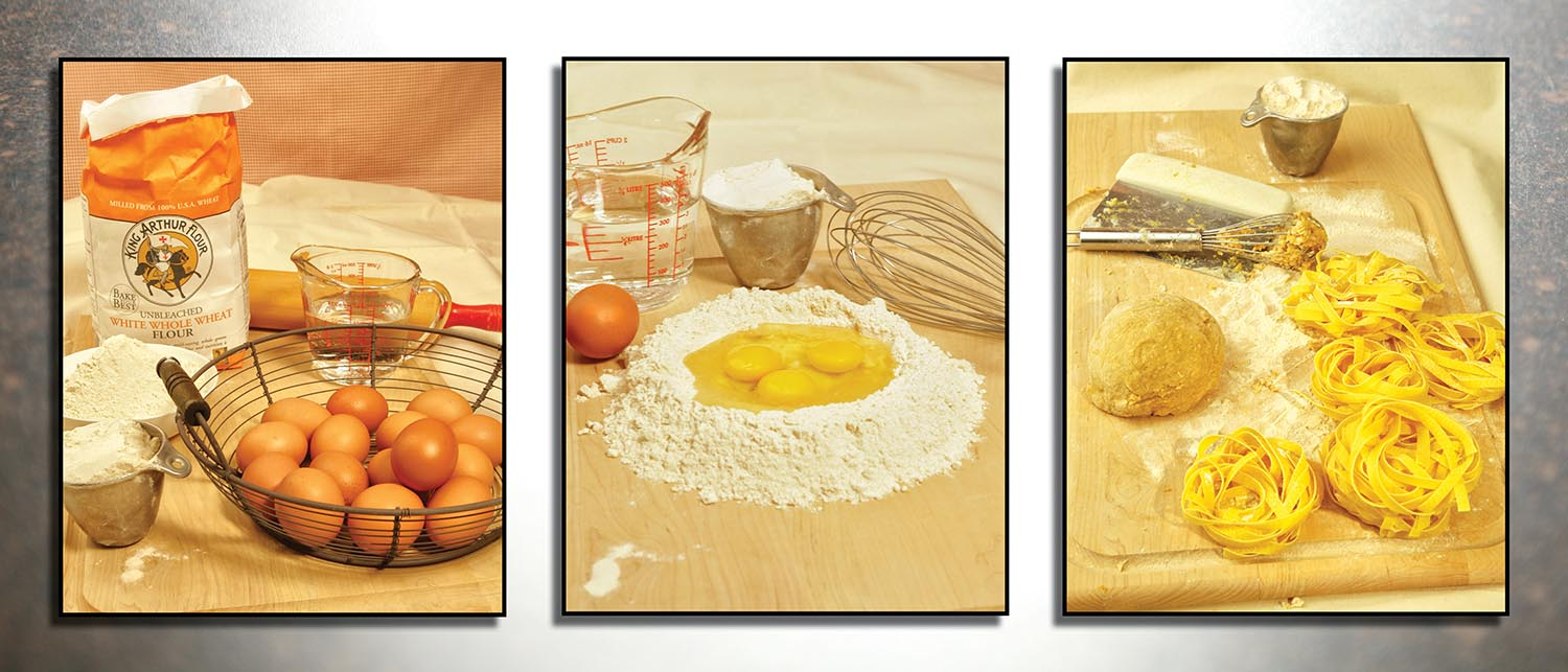 Culinary photography of pasta making process, making noodles, eggs, flour, water, wisk, fresh-made pasta photography by g2-studios