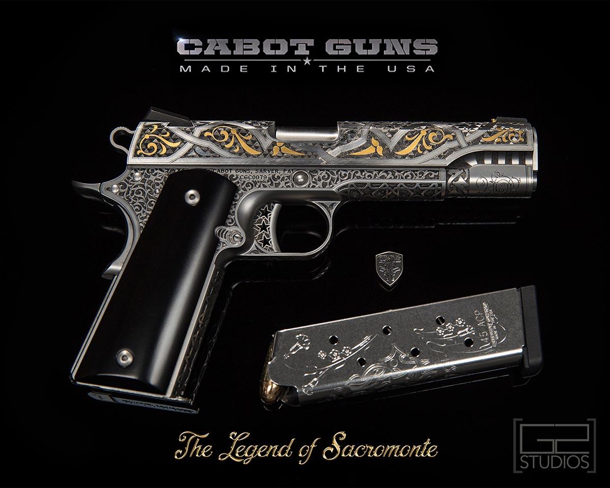 Cabot Guns, 1911, Engraved Gun Photography by G2 Studios, Product Photography, The Legend of Sacromante Gun, sarver pa, mars, pa