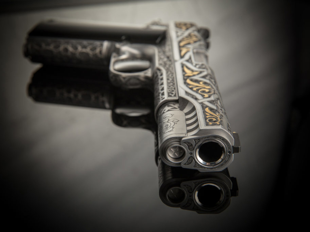 Cabot Guns, 1911, Engraved Gun Photography by G2 Studios, Product Photography, The Legend of Sacromante