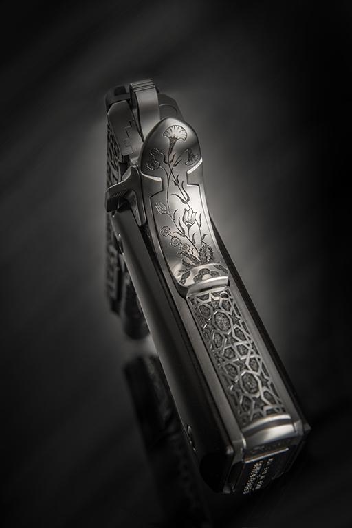 Cabot Guns, 1911, Engraved Gun Photography by G2 Studios, Product Photography, The Legend of Sacromante Gun Grip