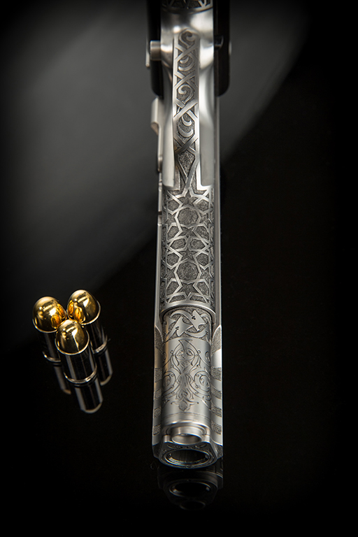 Cabot Guns, 1911, Engraved Gun Photography by G2 Studios, Product Photography, The Legend of Sacromante Gun
